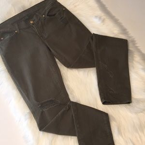 7 for all Mankind Olive Green Distressed Jeans 27